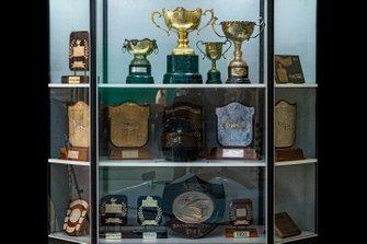 Display of Kari's Trophies at GeDee Car Museum
