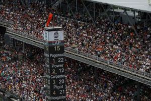 Fans, Simon Pagenaud, Team Penske Chevrolet leads