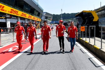 Jock Clear, Ferrari, Charles Leclerc, Ferrari in the pit lane with Marc Gene