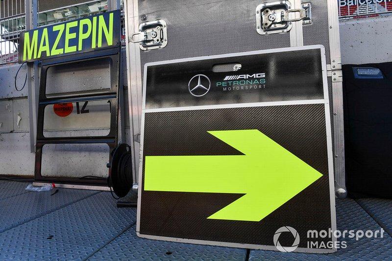 Pit board di Nikita Mazepin, tester privato, Mercedes AMG F1