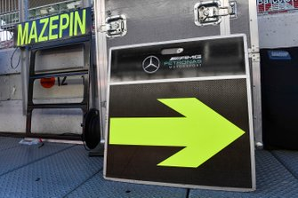 Pit board of Nikita Mazepin, private tester, Mercedes AMG F1