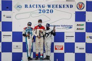 Il podio assoluto di Gara 1: primo posto Eric Brigliadori, BF Motorsport, Audi RS 3 LMS TCR, davanti a, secondo posto Alessandro Giardelli, MM Motorsport, Cupra TCR, terzo posto Salvatore Tavano, Scuderia del Girasole by Cupra Racing, Cupra Leon Competicion TCR