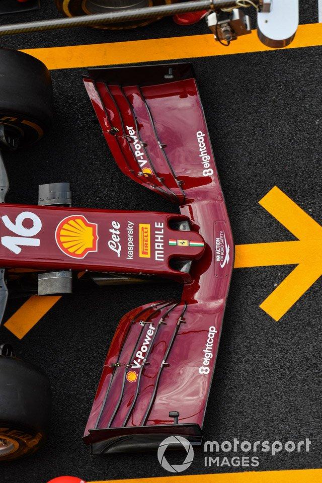 El alerón delantero del Ferrari SF1000 de Charles Leclerc