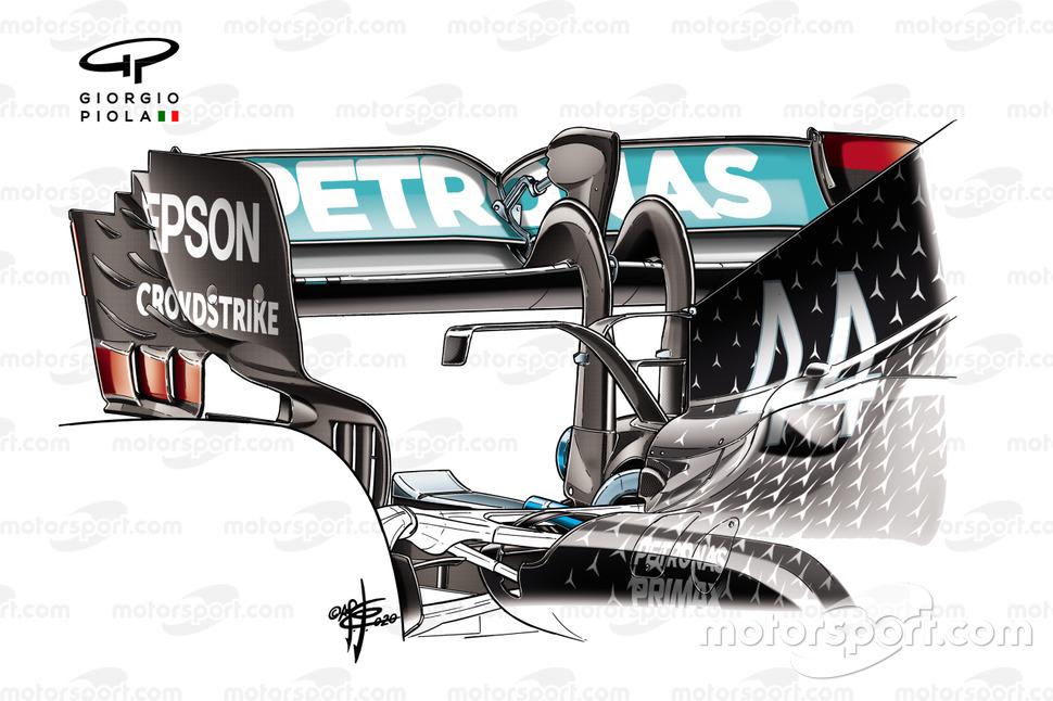 Mercedes AMG F1 W11, dettaglio della T-Wing ad ala di gabbiano
