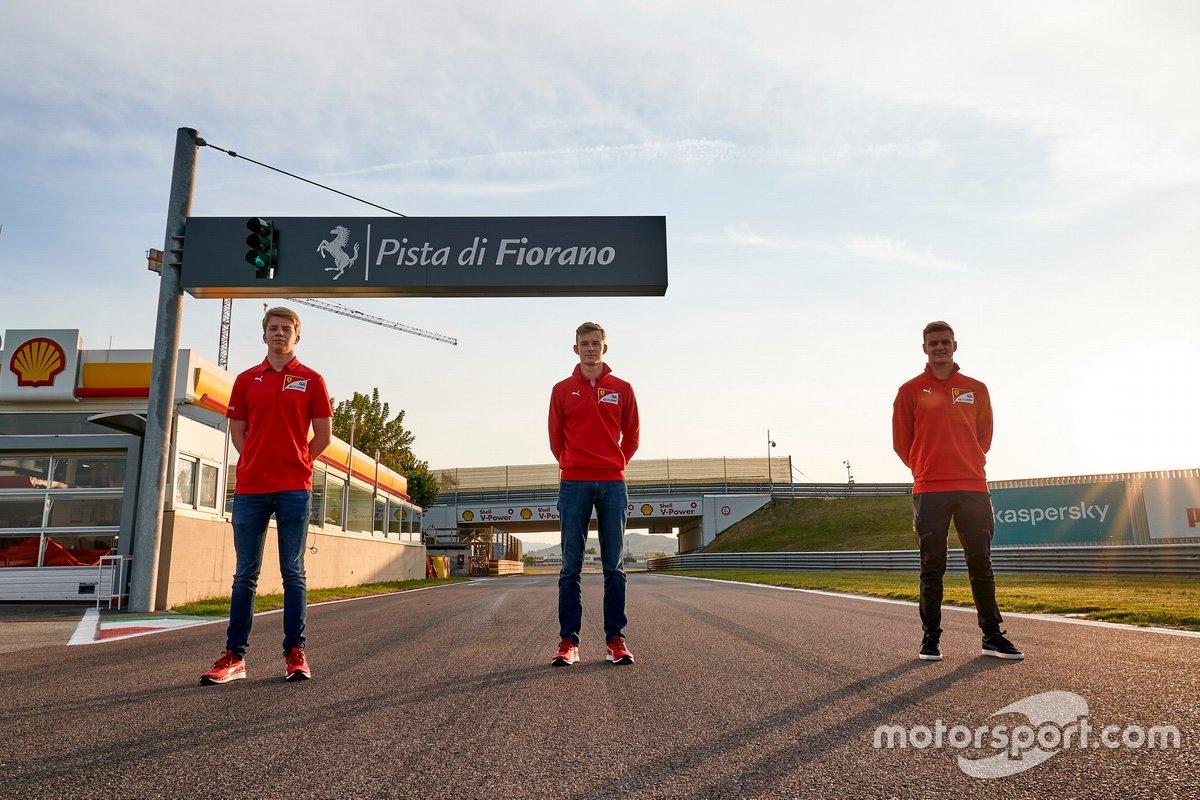 Callum Ilott, Mick Schumacher and Robert Shwartzman, Ferrari Driver Academy
