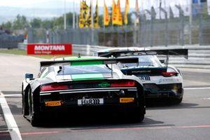 #30 Team WRT Audi R8 LMS: Rolf Ineichen, Mirko Bortolotti and #18 Küs Team75 Bernhard Porsche 911 GT3 R: Jannes Fittje, David Jahn, unsafe realease