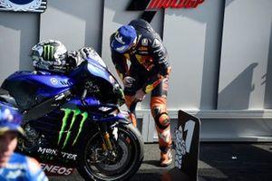 Pol Espargaro, Red Bull KTM Factory Racing, looking at the Yamaha M1