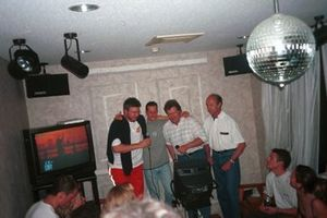 The Karaoke is about to start, Ross Brawn, Michael Schumacher, Norbert Haug, and Jo Ramirez