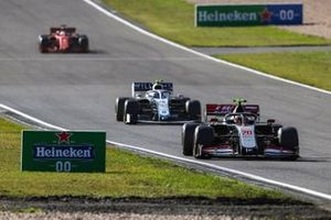 Kevin Magnussen, Haas VF-20, Nicholas Latifi, Williams FW43, and Sebastian Vettel, Ferrari SF1000