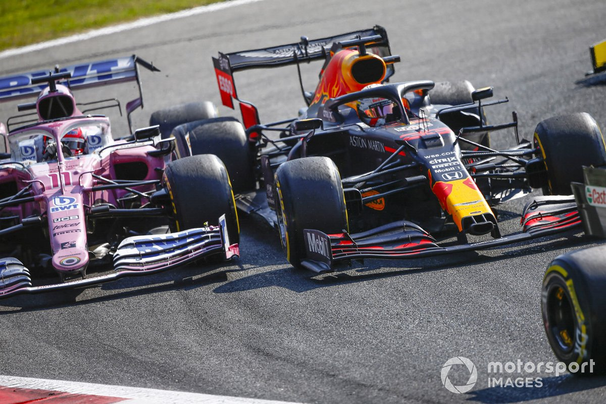 Max Verstappen, Red Bull Racing RB16, Sergio Pérez, Racing Point RP20