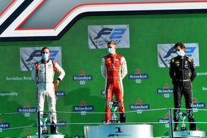 Race Winner Mick Schumacher, Prema Racing, Luca Ghiotto, Hitech Grand Prix, 2nd position, and Christian Lundgaard, ART Grand Prix, 3rd position, on the podium