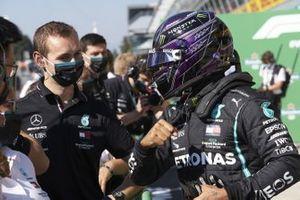 Lewis Hamilton, Mercedes-AMG F1, celebrates pole in Parc Ferme