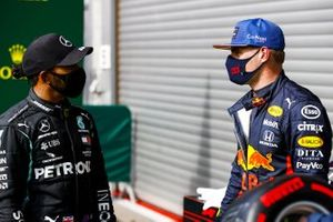 Pole Sitter Lewis Hamilton, Mercedes-AMG F1 and Max Verstappen, Red Bull Racing in Parc Ferme