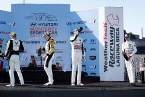 #4: Corvette Racing Corvette C8.R, GTLM: Tommy Milner, Nick Tandy, podio, vincitore, #3: Corvette Racing Corvette C8.R, GTLM: Antonio Garcia, Jordan Taylor, #79: WeatherTech Racing Porsche 911 RSR - 19, GTLM: Cooper MacNeil, Matt Campbell, champagne