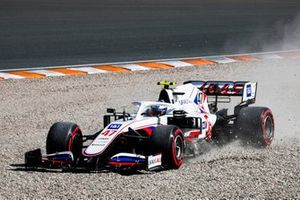 Mick Schumacher, Haas VF-21, in the gravel