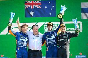 1st place Daniel Ricciardo, McLaren 2nd Lando Norris, McLaren 3rd Valtteri Bottas, Mercedes on the podium