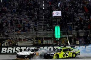Race winner A.J. Allmendinger, Kaulig Racing, Chevrolet Camaro, Austin Cindric, Team Penske, Ford Mustang