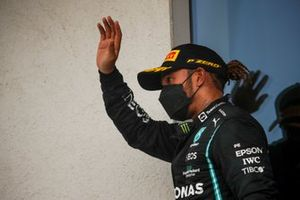 Lewis Hamilton, Mercedes, 3rd position, arrives on the podium