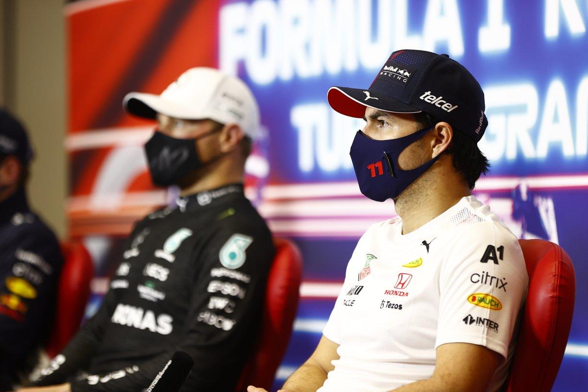 Sergio Perez, Red Bull Racing, 3a posizione, in conferenza stampa