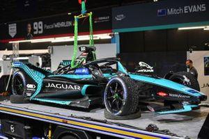 The damaged car of Sam Bird, Jaguar Racing, Jaguar I-TYPE 5, is returned to the garage