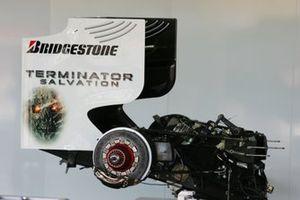 Terminator Salvation branding on the rear wing of the Brawn Grand Prix BGP 001