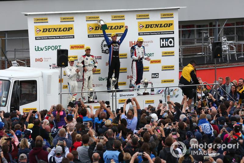 Podium, Ricky Collard, WSR BMW, Colin Turkington, WSR BMW and Aiden Moffat, Laser Tools Racing Mercedes A-Class