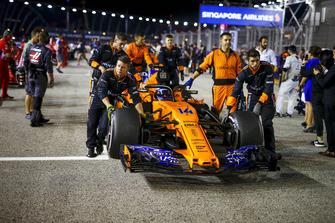 Fernando Alonso, McLaren MCL33 op de grid