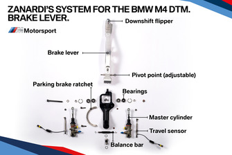 Zanardi's system for the BMW M4 DTM, brake lever