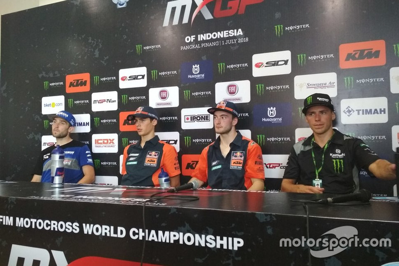 Shaun Simpson Wilvo Yamaha MXGP, Jorge Prado KTM Factory Racing, Jeffrey Herlings, KTM Factory Racing y Julien Lieber Kawasaki Racing