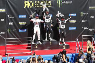 Podium: winner Johan Kristoffersson, PSRX Volkswagen Sweden, second place Andreas Bakkerud, EKS Audi Sport, third place Petter Solberg, PSRX Volkswagen Sweden