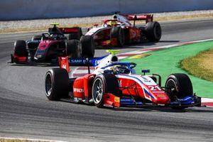 Robert Shwartzman, Prema Racing, leads Callum Ilott, UNI-VIRTUOSI, and Mick Schumacher, Prema Racing