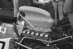 The airbox and engine of a Matra-Simca MS120
