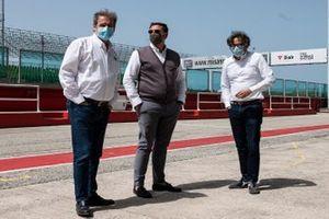 Giovanni Copioli, président de la FMI, Luca Colaiacovo, président de Santa Monica Spa, et Andrea Albani, directeur exécutif du circuit de Misano
