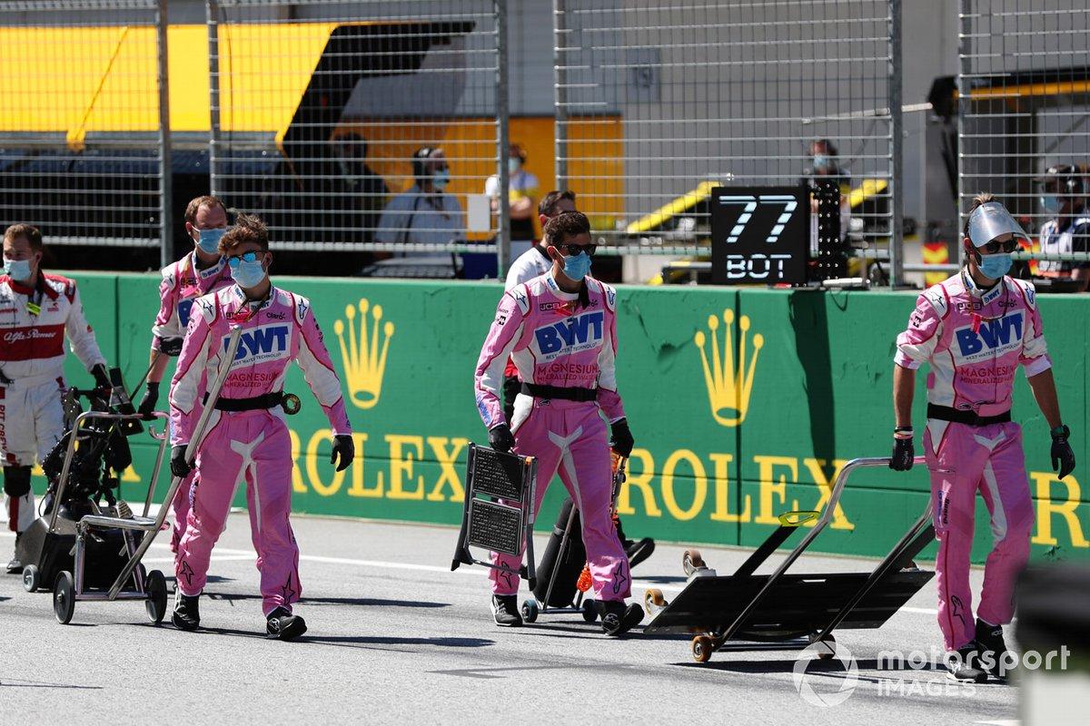 Racing Point team members on the grid