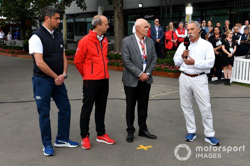 مايكل ماسي، مدير السباق وأندرو ويستاكوت، رئيس شركة جائزة أستراليا الكبرى وتشايس كاري الرئيس التنفيذي للفورمولا واحد
