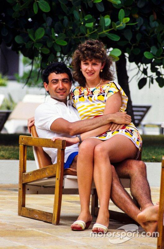 Michele Alboreto, Ferrari, and wife Nadia