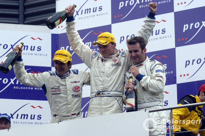 24 uur Spa 2003: Winnaars Stéphane Ortelli, Marc Lieb, Romain Dumas, Porsche 996 GT3-RS