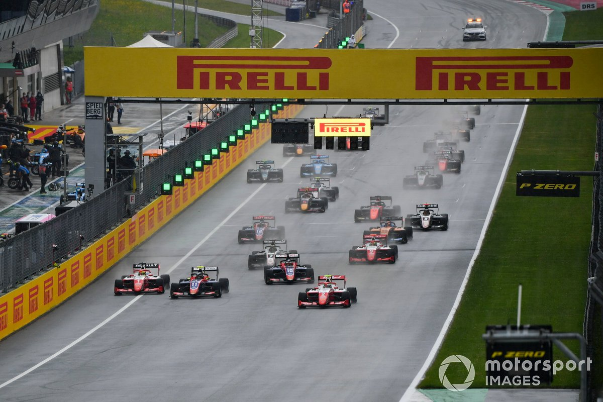Oscar Piastri, Prema Racing, Frederik Vesti, Prema Racing, Devlin DeFrancesco, Trident e Lirim Zendeli, Trident