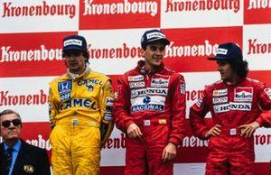 Ayrton Senna, McLaren, Nelson Piquet, Lotus, Alain Prost, McLaren, Jean-Marie Balestre