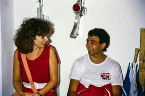 Michele Alboreto, Ferrari with wife Nadia