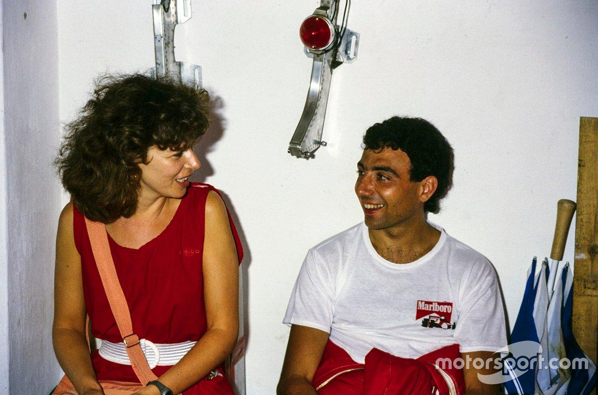 Michele Alboreto, Ferrari con su esposa Nadia
