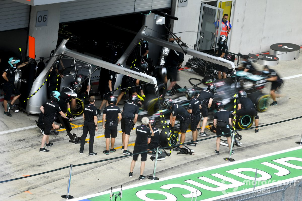 Car of Valtteri Bottas, Mercedes F1 W11 EQ Performance being used for pit stop practice