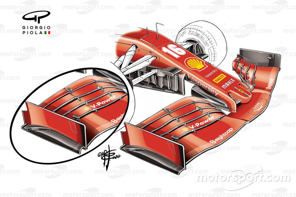 El alerón delantero del Ferrari SF1000 para el GP de Estiria