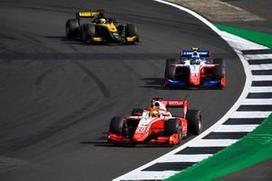 Mick Schumacher, Prema Racing, leads Robert Shwartzman, Prema Racing, and Guanyu Zhou, UNI-Virtuosi