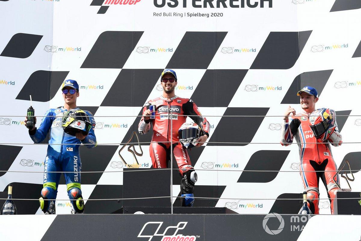 Podio: 1º Andrea Dovizioso, Ducati Team, 2º Joan Mir, Team Suzuki MotoGP, 3º Jack Miller, Pramac Racing