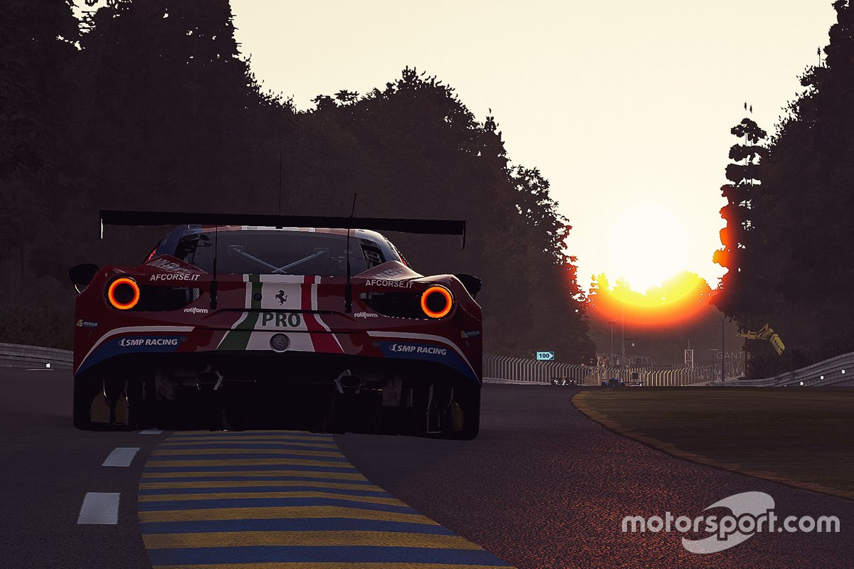 Azione di gara al tramonto