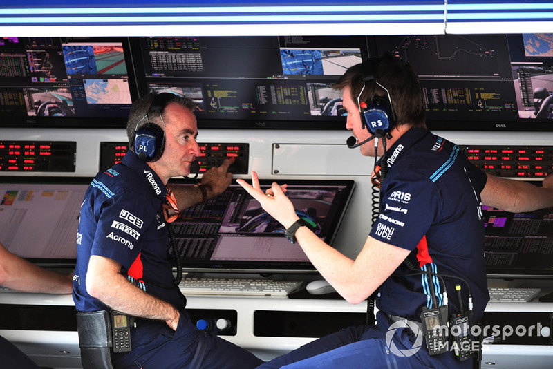 Paddy Lowe, Williams Shareholder and Technical Director and Rob Smedley, Williams Head of Vehicle Performance on the pit wall gantry