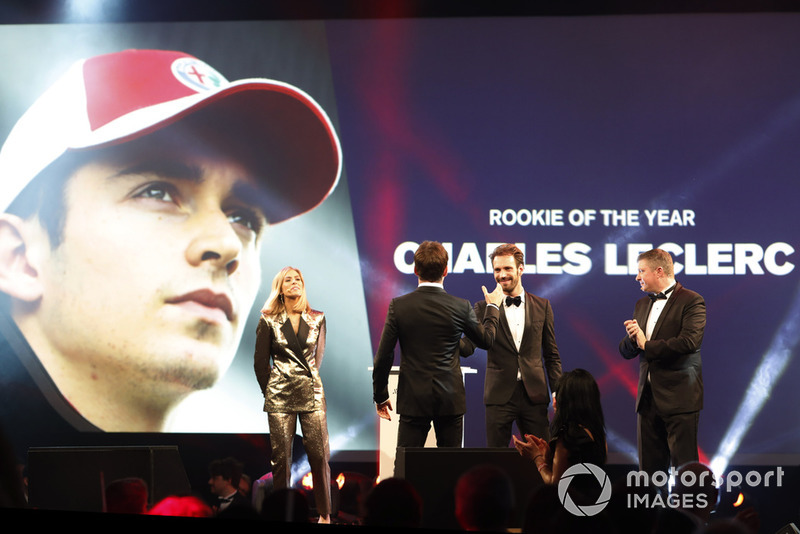 Rookie of the Year Charles Leclerc is greeting on stage by FIA Formula E Chamion Jean Eric Vergne