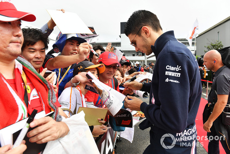 Esteban Ocon, Racing Point Force India F1 Team signs autographs for the fans