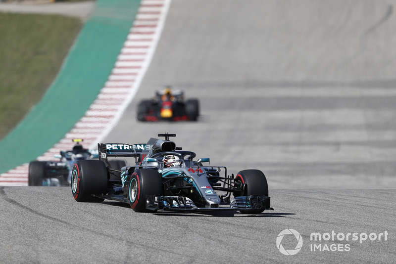 Lewis Hamilton, Mercedes AMG F1 W09 EQ Power+, leads Valtteri Bottas, Mercedes AMG F1 W09 EQ Power+